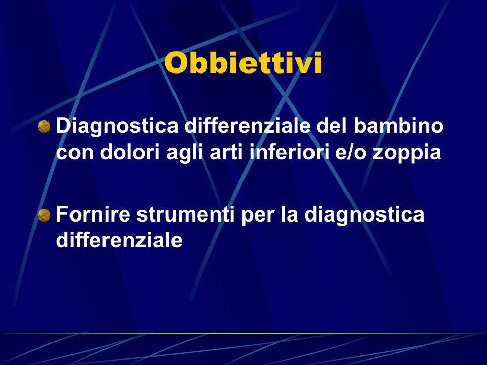 Obbiettivi Diagnostica differenziale del bambino con dolori agli arti inferiori e/o zoppia Fornire strumenti per la diagnostica differenziale