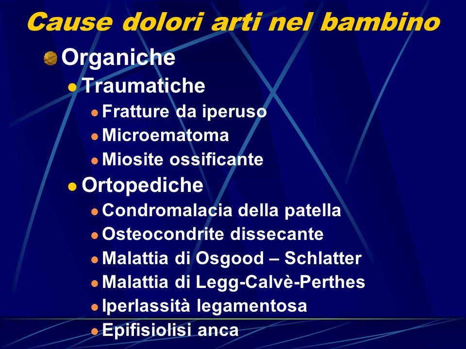 Cause dolori arti nel bambino Organiche Traumatiche Fratture da iperuso Microematoma Miosite ossificante Ortopediche Condromalacia della patella Osteo