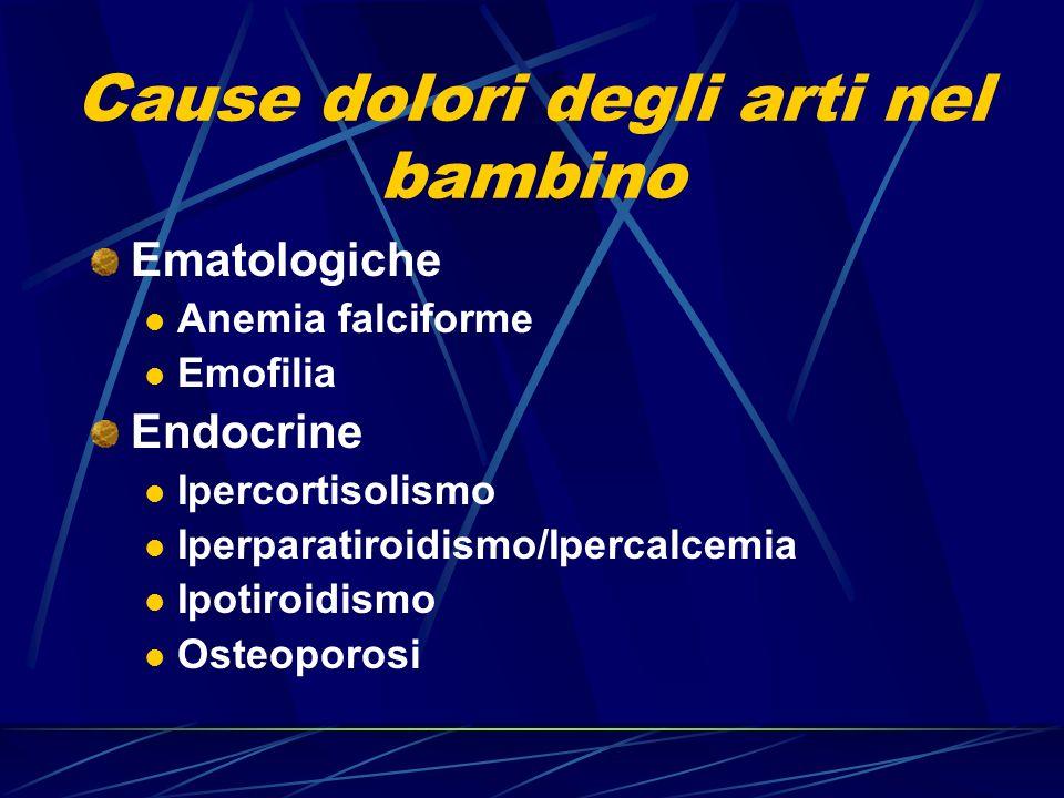 Cause dolori degli arti nel bambino Ematologiche Anemia falciforme Emofilia Endocrine Ipercortisolismo Iperparatiroidismo/Ipercalcemia Ipotiroidismo O