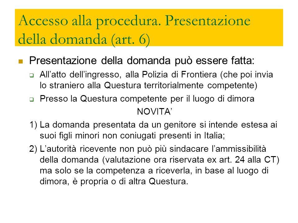 Accesso alla procedura. Presentazione della domanda (art. 6) Presentazione della domanda può essere fatta: Allatto dellingresso, alla Polizia di Front