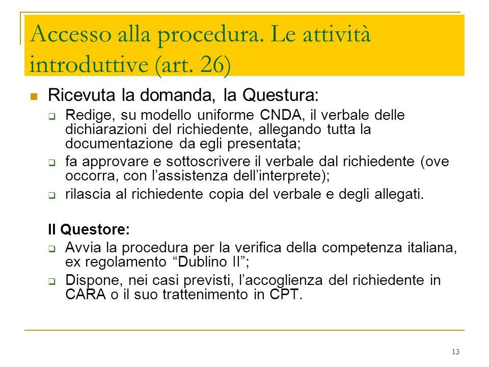 13 Accesso alla procedura. Le attività introduttive (art. 26) Ricevuta la domanda, la Questura: Redige, su modello uniforme CNDA, il verbale delle dic