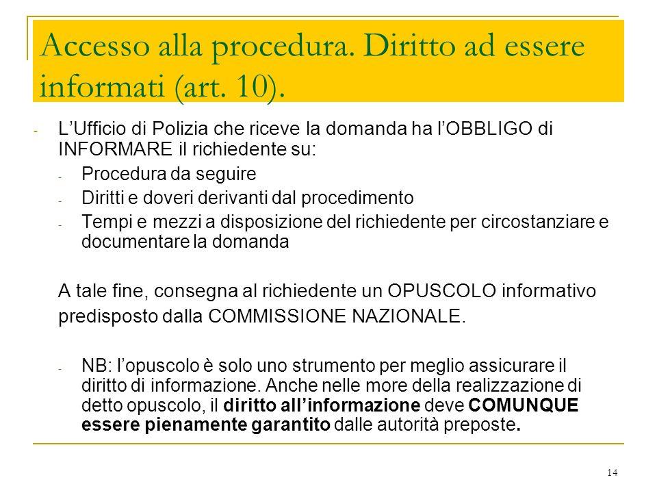 14 Accesso alla procedura. Diritto ad essere informati (art. 10). - LUfficio di Polizia che riceve la domanda ha lOBBLIGO di INFORMARE il richiedente