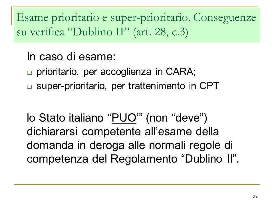 39 Esame prioritario e super-prioritario. Conseguenze su verifica Dublino II (art. 28, c.3) In caso di esame: prioritario, per accoglienza in CARA; su