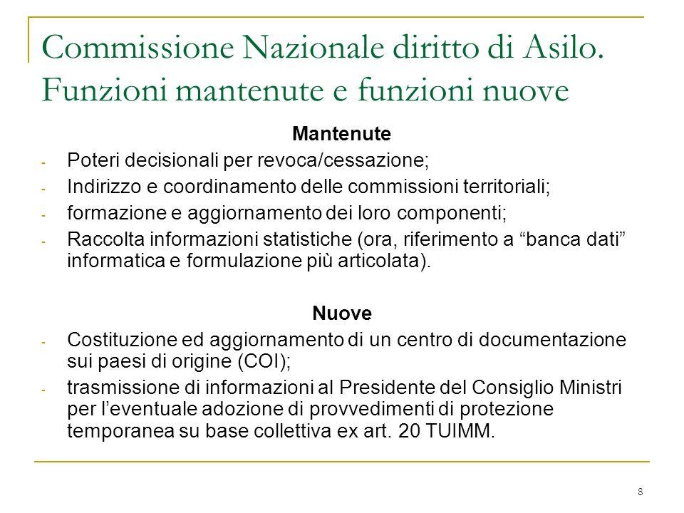 8 Commissione Nazionale diritto di Asilo. Funzioni mantenute e funzioni nuove Mantenute - Poteri decisionali per revoca/cessazione; - Indirizzo e coor