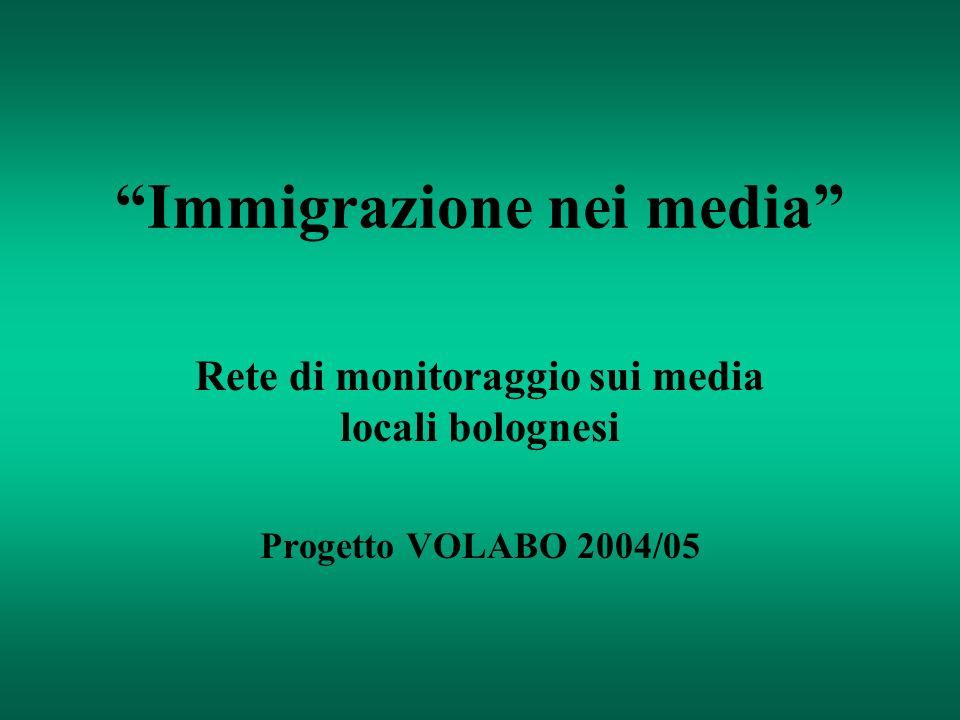 Immigrazione nei media Rete di monitoraggio sui media locali bolognesi Progetto VOLABO 2004/05