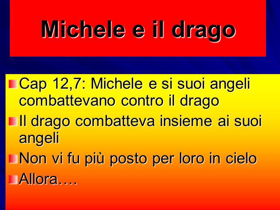 Michele e il drago Cap 12,7: Michele e si suoi angeli combattevano contro il drago Il drago combatteva insieme ai suoi angeli Non vi fu più posto per