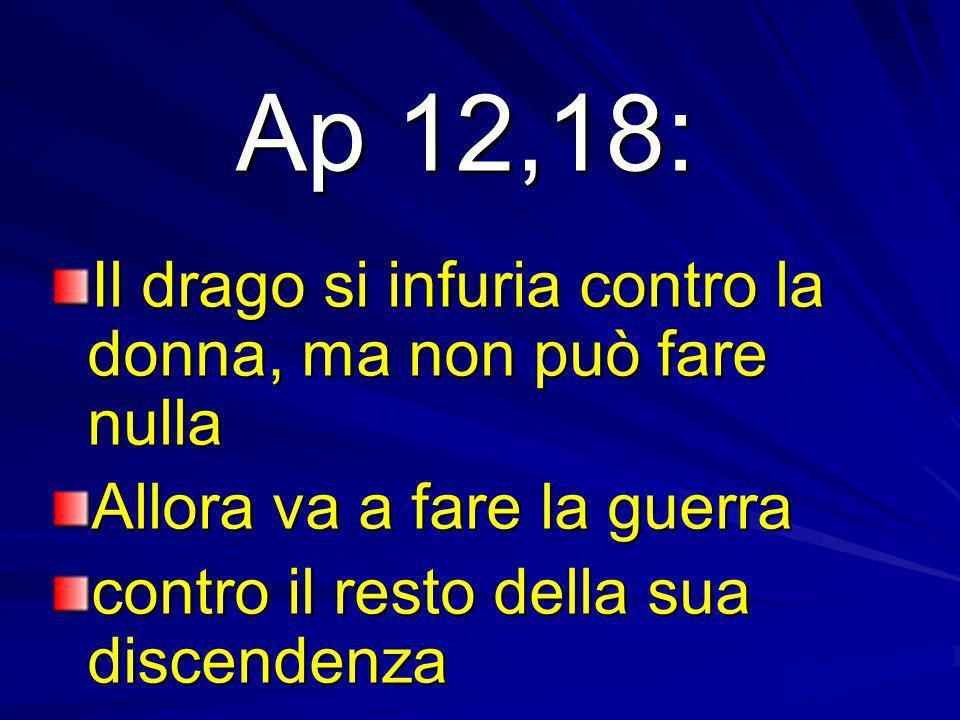 Ap 12,18: Il drago si infuria contro la donna, ma non può fare nulla Allora va a fare la guerra contro il resto della sua discendenza