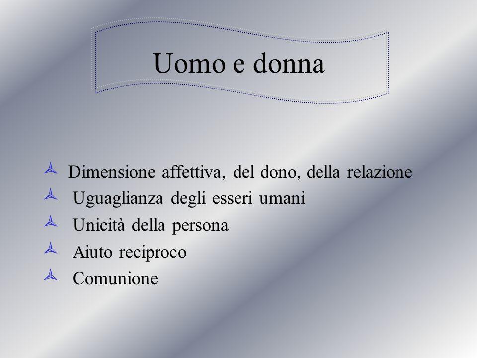 Uomo e donna Dimensione affettiva, del dono, della relazione Uguaglianza degli esseri umani Unicità della persona Aiuto reciproco Comunione