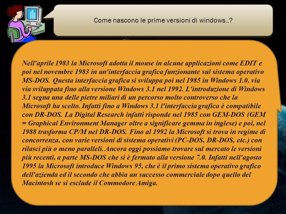 Come nascono le prime versioni di windows..? Nell'aprile 1983 la Microsoft adotta il mouse in alcune applicazioni come EDIT e poi nel novembre 1983 in