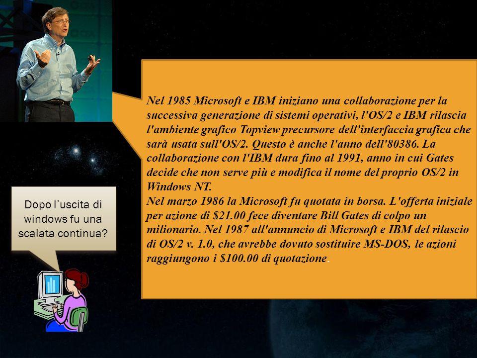 Dopo luscita di windows fu una scalata continua? Nel 1985 Microsoft e IBM iniziano una collaborazione per la successiva generazione di sistemi operati