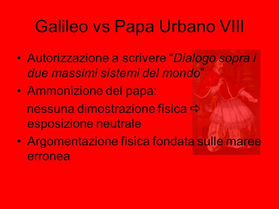Galileo vs Papa Urbano VIII Autorizzazione a scrivere Dialogo sopra i due massimi sistemi del mondo Ammonizione del papa: nessuna dimostrazione fisica