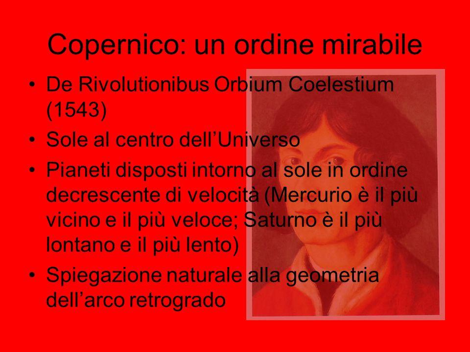 Copernico: un ordine mirabile De Rivolutionibus Orbium Coelestium (1543) Sole al centro dellUniverso Pianeti disposti intorno al sole in ordine decres