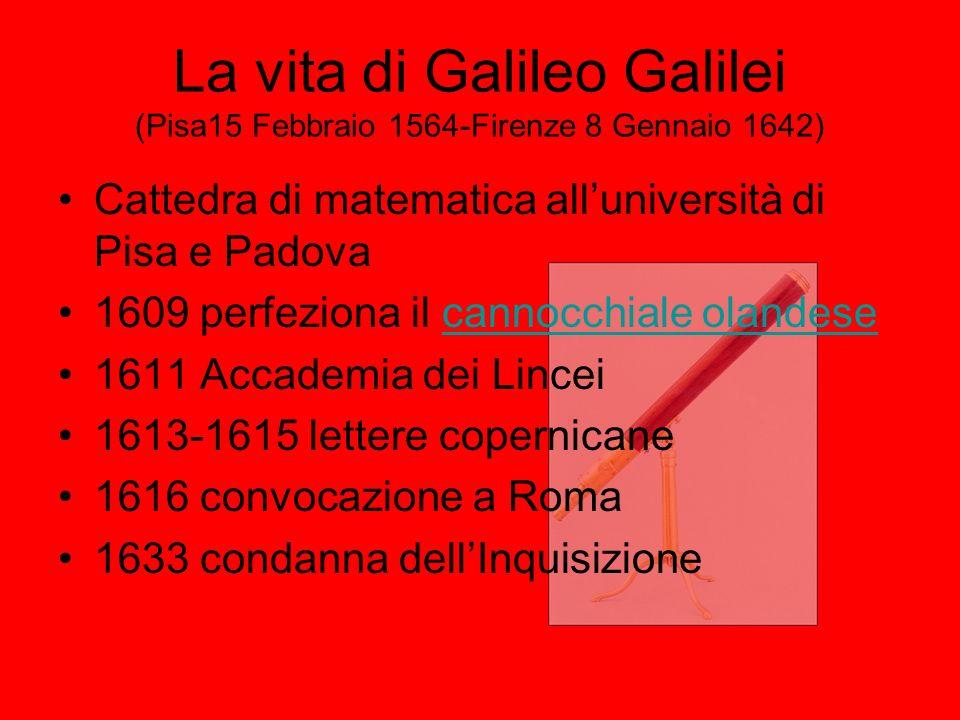 La vita di Galileo Galilei (Pisa15 Febbraio 1564-Firenze 8 Gennaio 1642) Cattedra di matematica alluniversità di Pisa e Padova 1609 perfeziona il cann