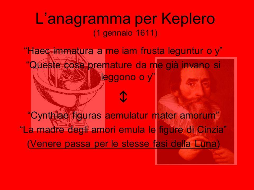 Lanagramma per Keplero (1 gennaio 1611) Haec immatura a me iam frusta leguntur o y Queste cose premature da me già invano si leggono o y Cynthiae figu
