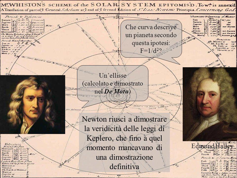 Edmund Halley Che curva descrive un pianeta secondo questa ipotesi: F=1/d 2 ? Unellisse (calcolato e dimostrato nel De Motu) Newton riuscì a dimostrar