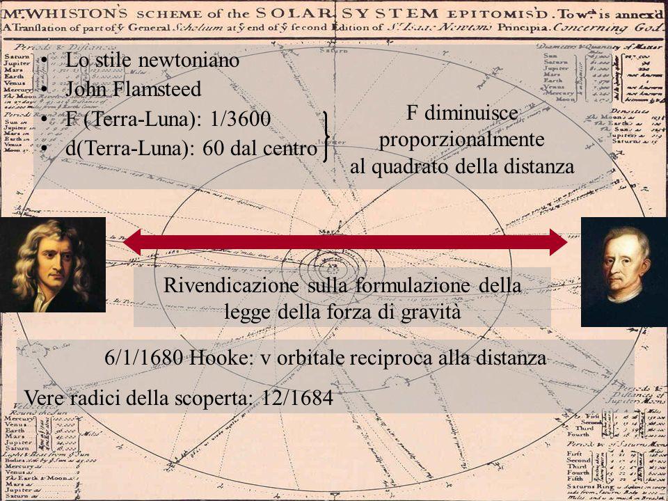 Lo stile newtoniano John Flamsteed F (Terra-Luna): 1/3600 d(Terra-Luna): 60 dal centro F diminuisce proporzionalmente al quadrato della distanza Riven