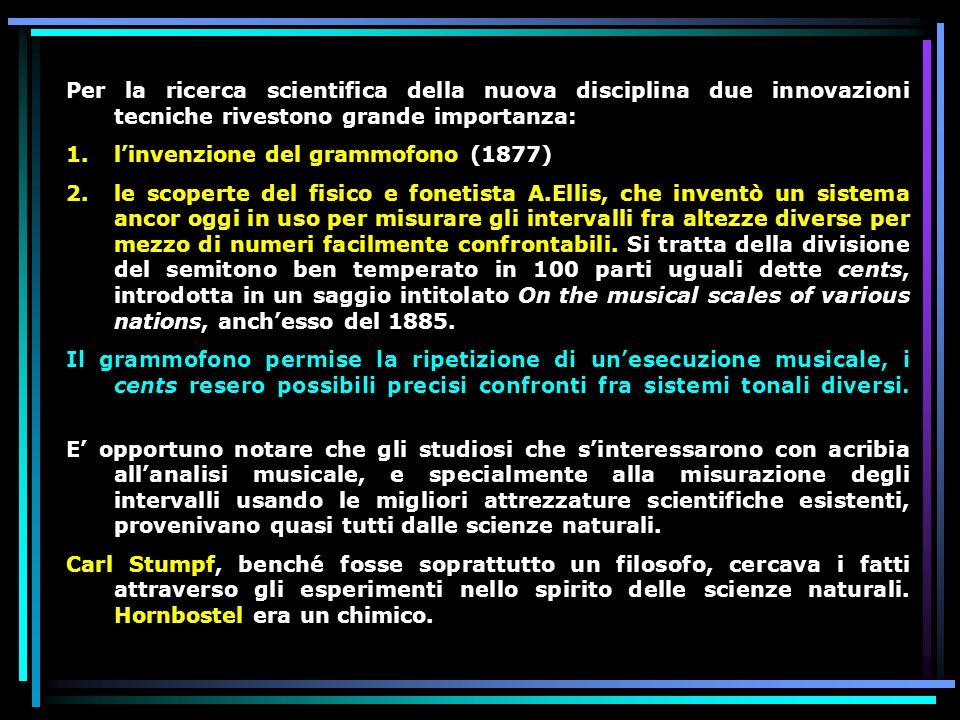 Per la ricerca scientifica della nuova disciplina due innovazioni tecniche rivestono grande importanza: 1.linvenzione del grammofono (1877) 2.le scope