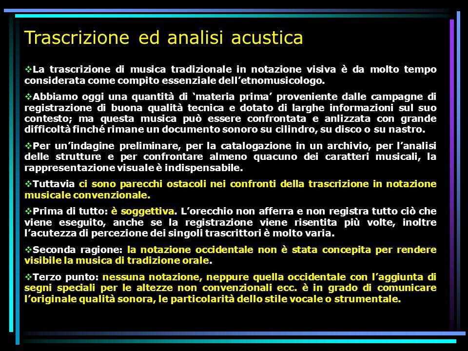Trascrizione ed analisi acustica La trascrizione di musica tradizionale in notazione visiva è da molto tempo considerata come compito essenziale delle