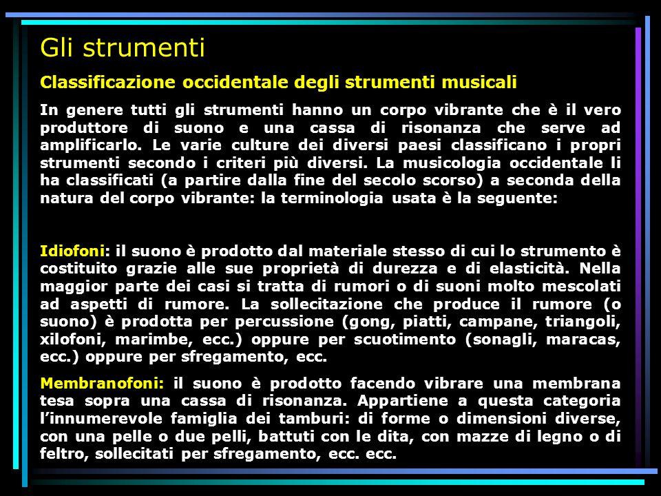 Gli strumenti Classificazione occidentale degli strumenti musicali In genere tutti gli strumenti hanno un corpo vibrante che è il vero produttore di s
