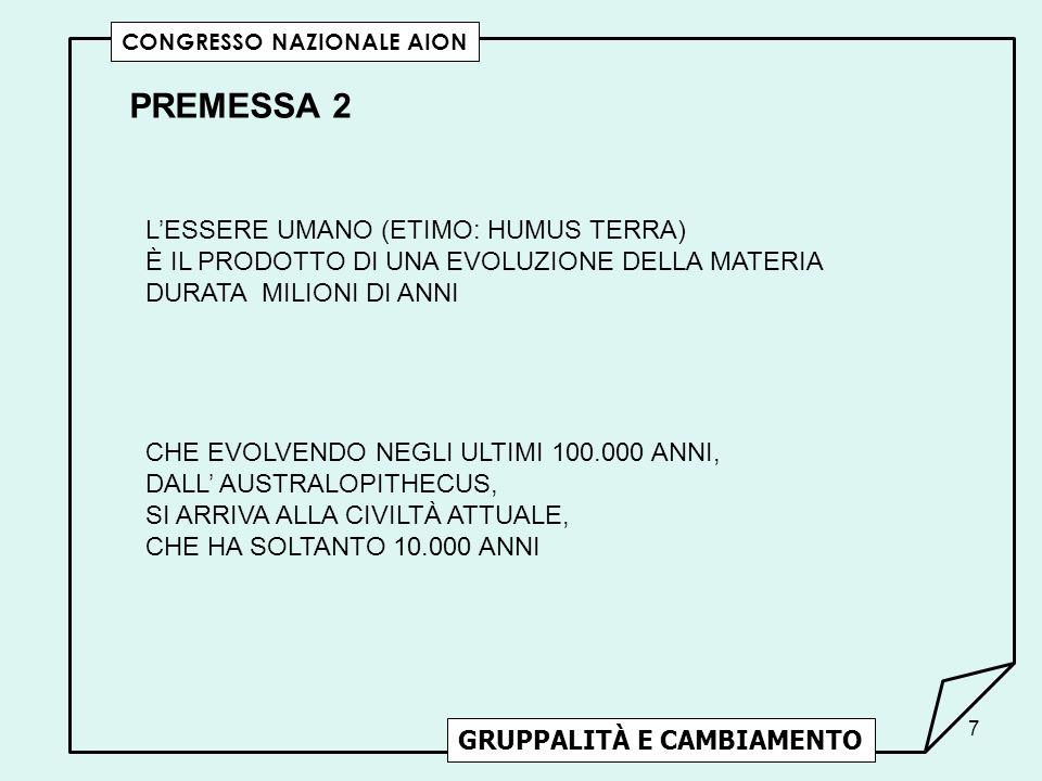 38 LESSERE UMANO DESIDERA DI ESSERE DESIDERATO GRUPPALITÀ E CAMBIAMENTO CONGRESSO NAZIONALE AION