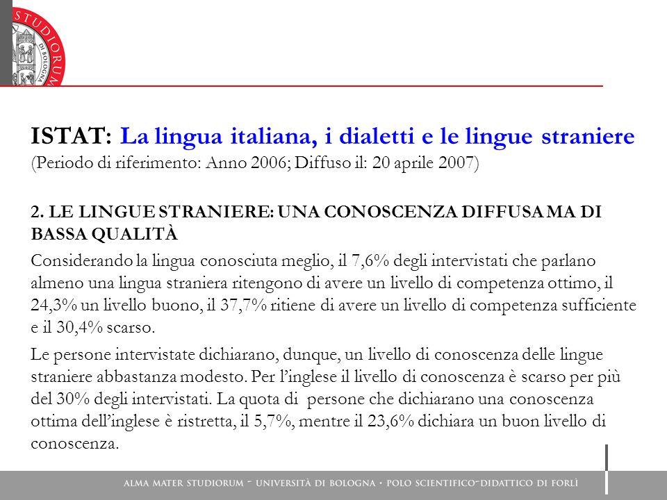 ISTAT: La lingua italiana, i dialetti e le lingue straniere (Periodo di riferimento: Anno 2006; Diffuso il: 20 aprile 2007) 2. LE LINGUE STRANIERE: UN