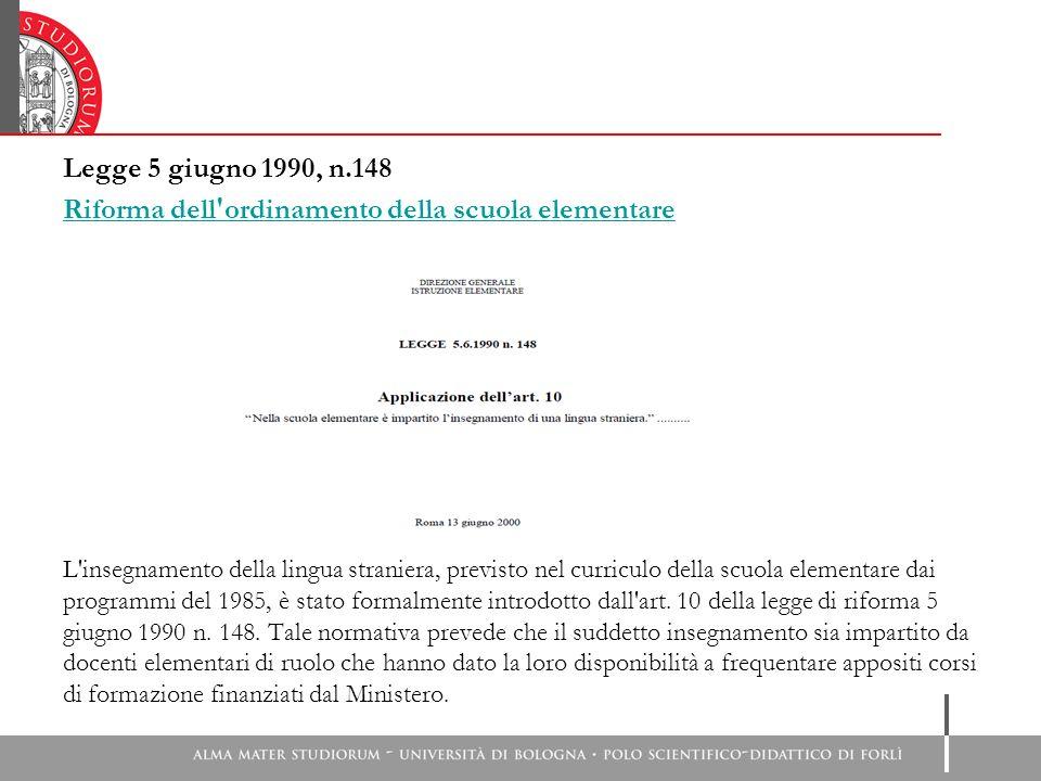Legge 5 giugno 1990, n.148 Riforma dell'ordinamento della scuola elementare L'insegnamento della lingua straniera, previsto nel curriculo della scuola