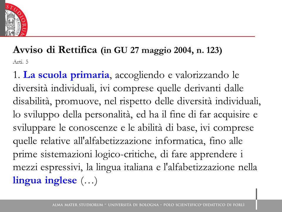 Avviso di Rettifica (in GU 27 maggio 2004, n.123) Arti.