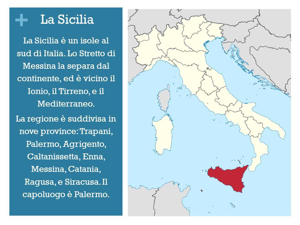 + La Sicilia è un isole al sud di Italia. Lo Stretto di Messina la separa dal continente, ed è vicino il Ionio, il Tirreno, e il Mediterraneo. La regi