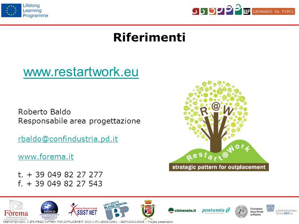 Riferimenti www.restartwork.eu Roberto Baldo Responsabile area progettazione rbaldo@confindustria.pd.it www.forema.it t.
