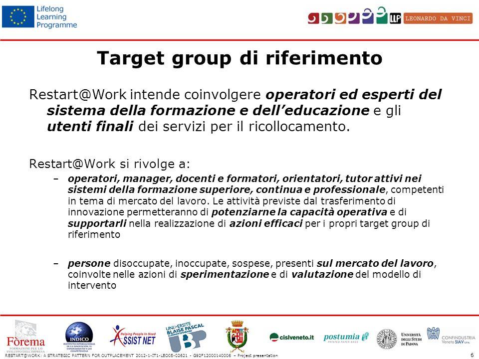 Target group di riferimento Restart@Work intende coinvolgere operatori ed esperti del sistema della formazione e delleducazione e gli utenti finali dei servizi per il ricollocamento.