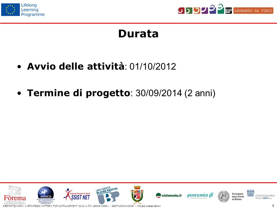 Durata Avvio delle attività : 01/10/2012 Termine di progetto : 30/09/2014 (2 anni) RESTART@WORK: A STRATEGIC PATTERN FOR OUTPLACEMENT 2012-1-IT1-LEO05-02621 - G92F12000140006 – Project presentation 9