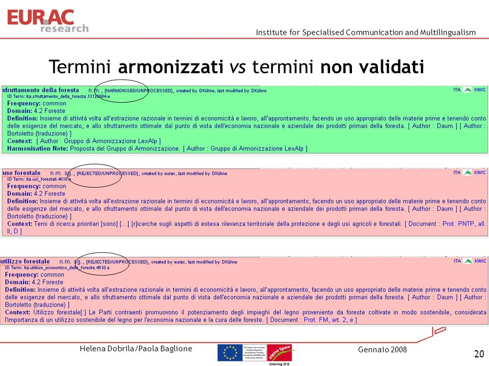 Institute for Specialised Communication and Multilingualism Helena Dobrila/Paola Baglione Gennaio 2008 20 Termini armonizzati vs termini non validati