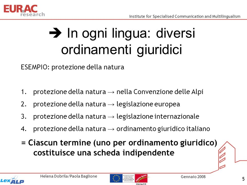 Institute for Specialised Communication and Multilingualism Helena Dobrila/Paola Baglione Gennaio 2008 6 Esempio: autostrada bandiera = ordinamento giuridico