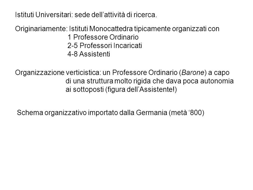 Istituti Universitari: sede dellattività di ricerca.