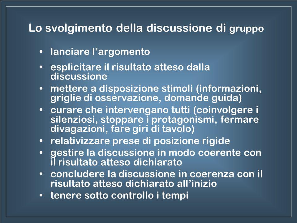 Lo svolgimento della discussione di gruppo lanciare largomento esplicitare il risultato atteso dalla discussione mettere a disposizione stimoli (infor