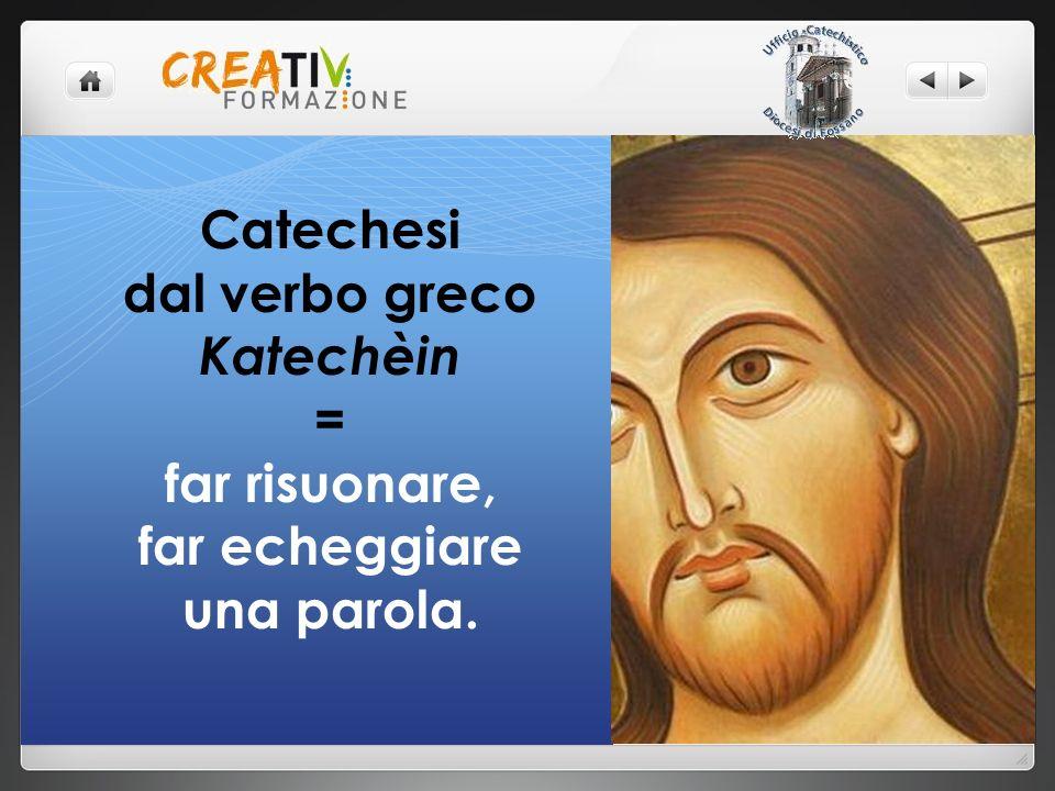 Catechesi dal verbo greco Katechèin = far risuonare, far echeggiare una parola.