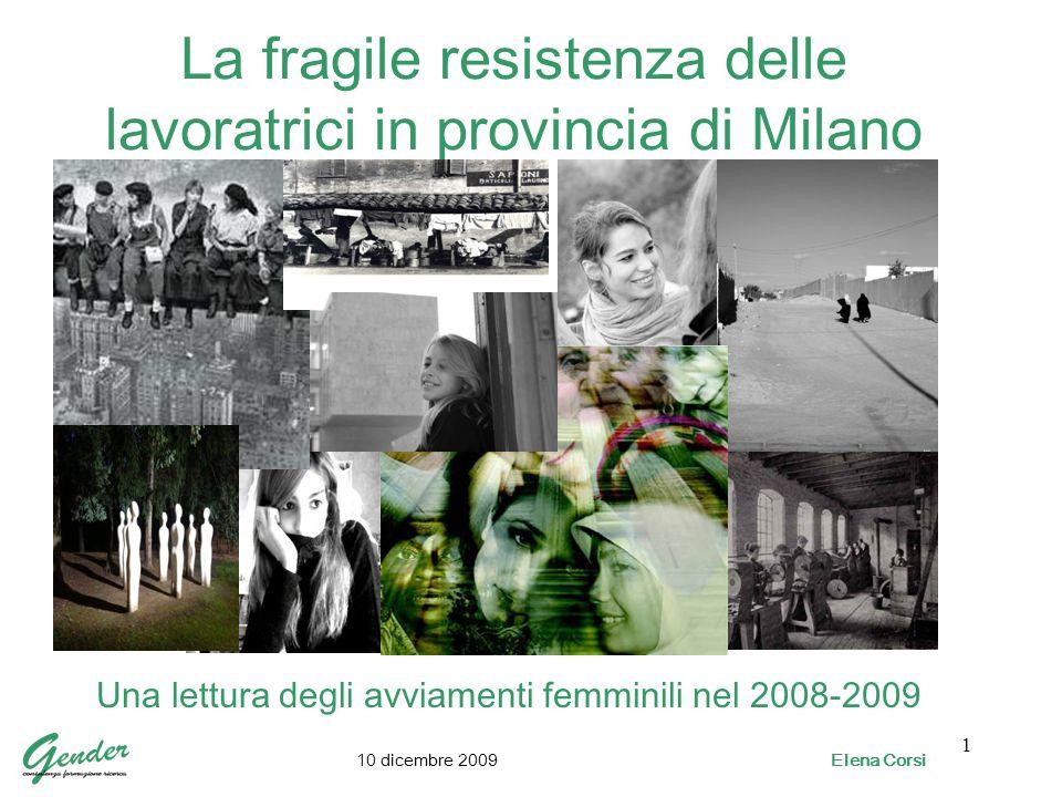 1 La fragile resistenza delle lavoratrici in provincia di Milano Una lettura degli avviamenti femminili nel 2008-2009 10 dicembre 2009 Elena Corsi