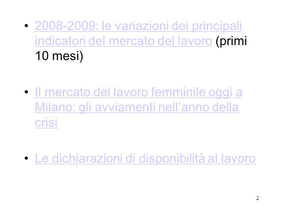 2 2008-2009: le variazioni dei principali indicatori del mercato del lavoro (primi 10 mesi)2008-2009: le variazioni dei principali indicatori del merc