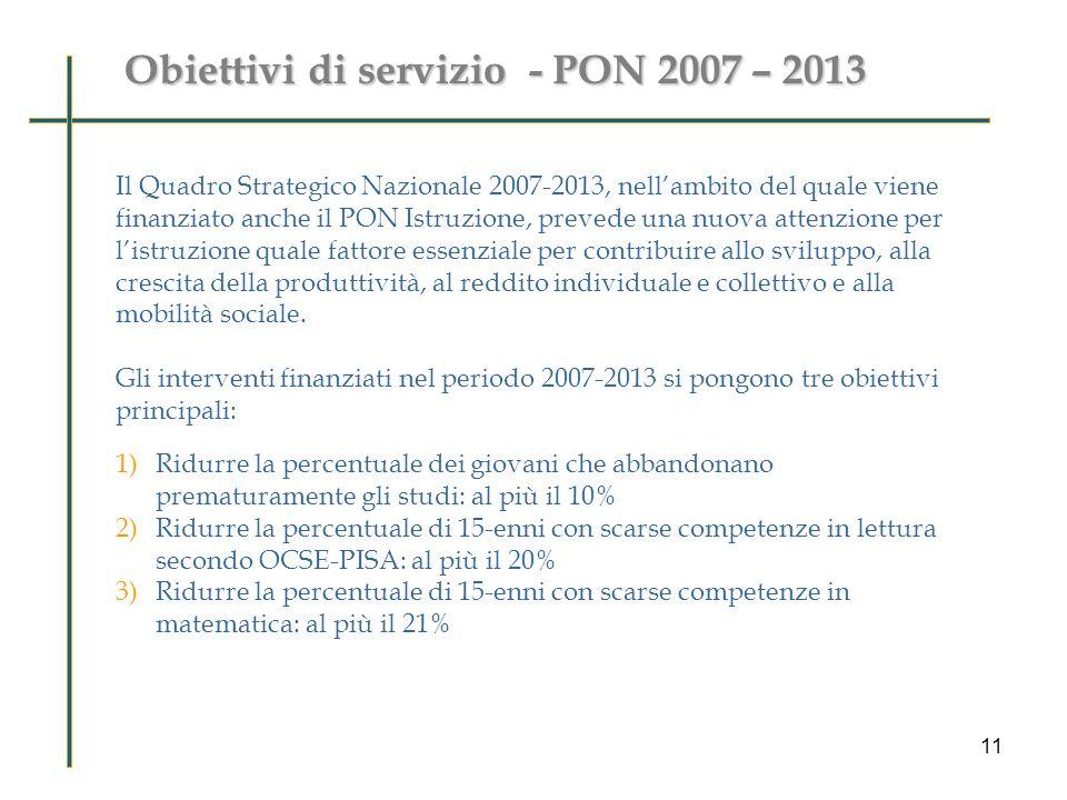Obiettivi di servizio - PON 2007 – 2013 Perché valutare le ricadute di PON M@t.abel sugli studenti .