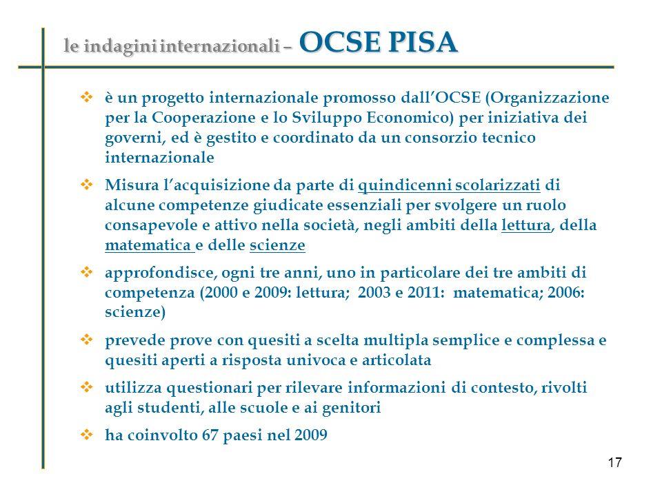 le indagini internazionali – OCSE PISA è un progetto internazionale promosso dallOCSE (Organizzazione per la Cooperazione e lo Sviluppo Economico) per iniziativa dei governi, ed è gestito e coordinato da un consorzio tecnico internazionale Misura lacquisizione da parte di quindicenni scolarizzati di alcune competenze giudicate essenziali per svolgere un ruolo consapevole e attivo nella società, negli ambiti della lettura, della matematica e delle scienze approfondisce, ogni tre anni, uno in particolare dei tre ambiti di competenza (2000 e 2009: lettura; 2003 e 2011: matematica; 2006: scienze) prevede prove con quesiti a scelta multipla semplice e complessa e quesiti aperti a risposta univoca e articolata utilizza questionari per rilevare informazioni di contesto, rivolti agli studenti, alle scuole e ai genitori ha coinvolto 67 paesi nel 2009 17