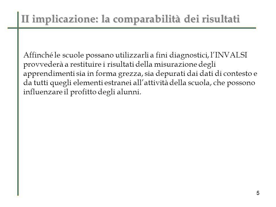 II implicazione: la comparabilità dei risultati Affinché le scuole possano utilizzarli a fini diagnostici, lINVALSI provvederà a restituire i risultat