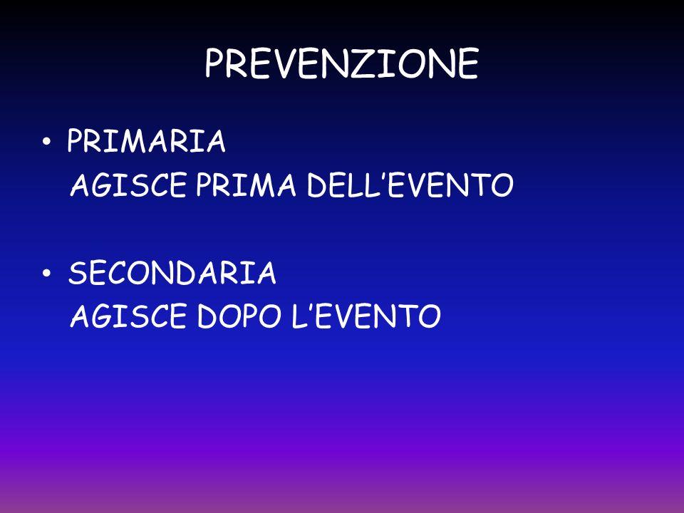 PREVENZIONE PRIMARIA AGISCE PRIMA DELLEVENTO SECONDARIA AGISCE DOPO LEVENTO