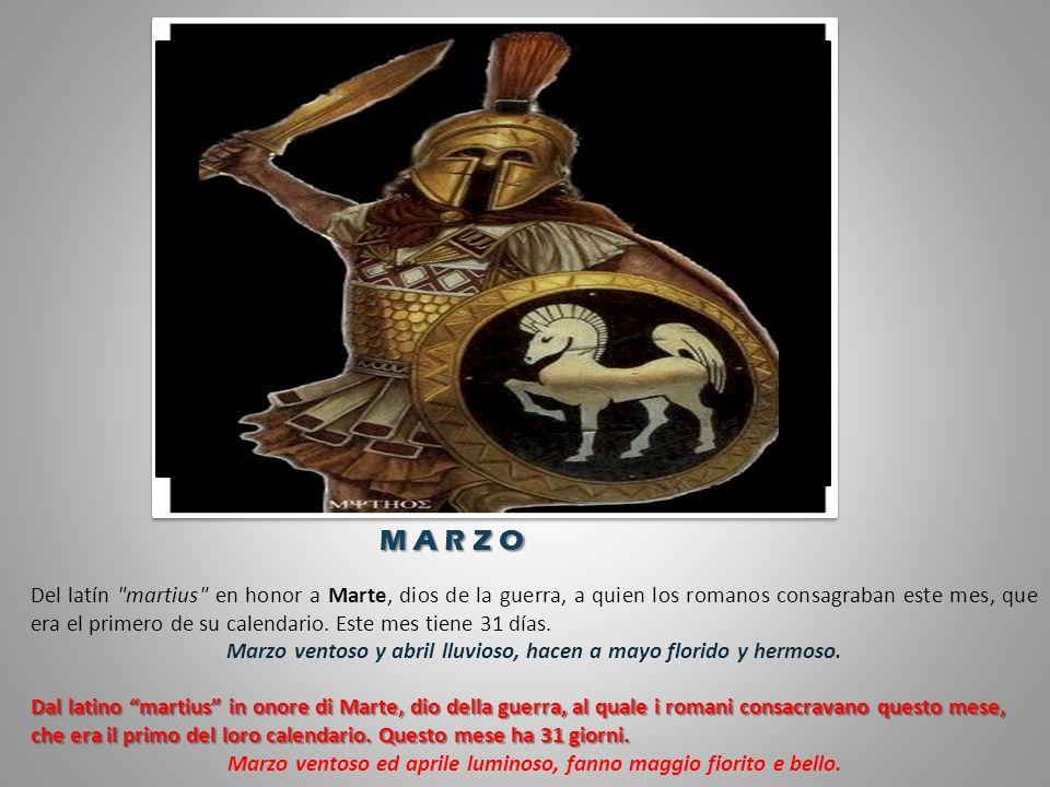 Del latín martius en honor a Marte, dios de la guerra, a quien los romanos consagraban este mes, que era el primero de su calendario.