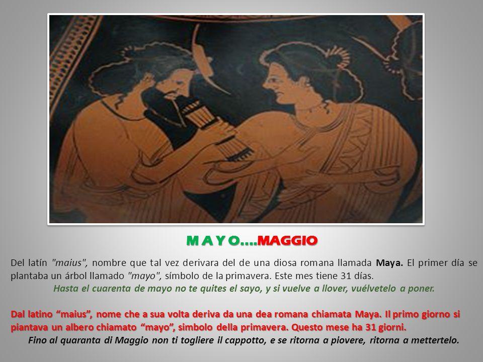Deriva del latín aprilis , que a su vez proviene de aprire (abrir), porque en esta época, en Roma es primavera y comienza a desarrollarse la vegetación.