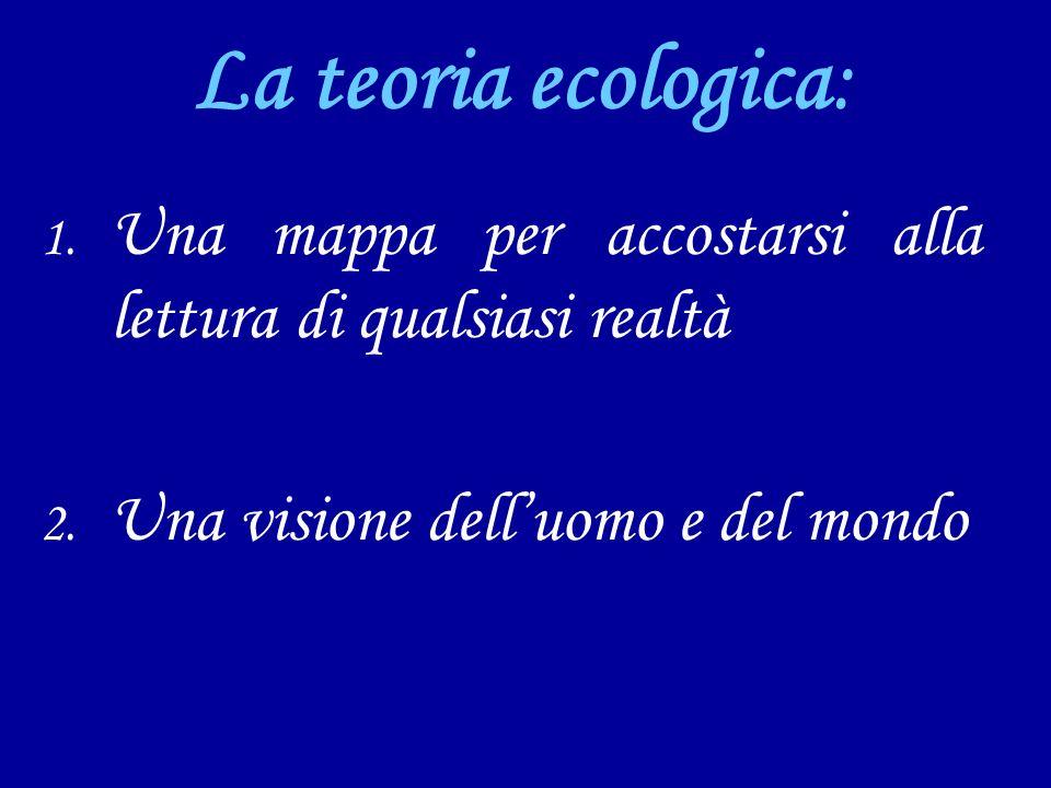 La teoria ecologica: 1. Una mappa per accostarsi alla lettura di qualsiasi realtà 2. Una visione delluomo e del mondo
