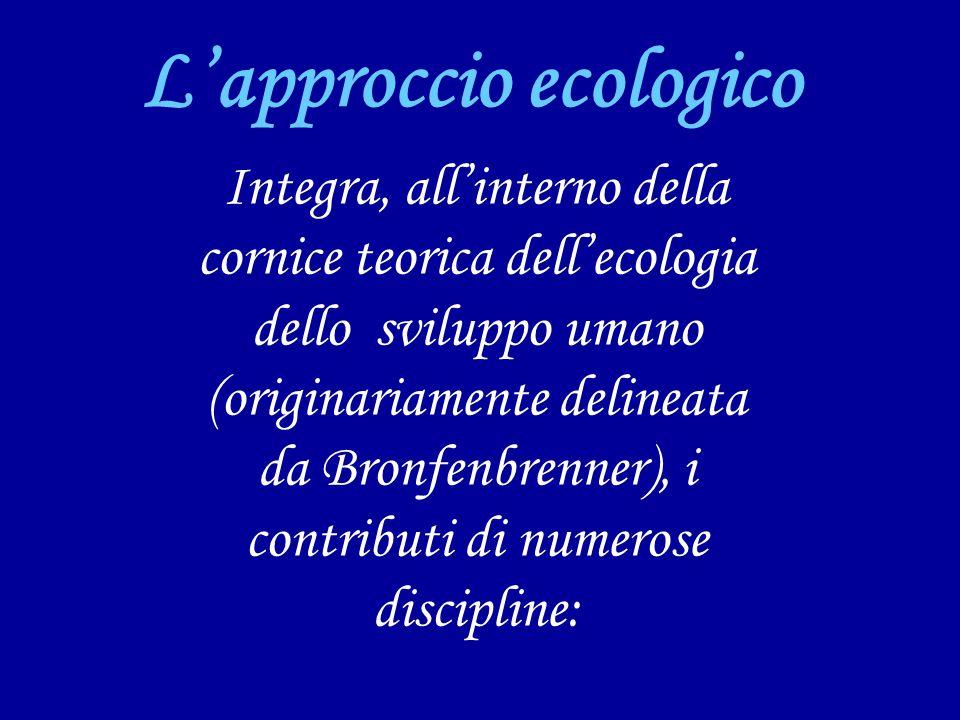 Lapproccio ecologico Integra, allinterno della cornice teorica dellecologia dello sviluppo umano (originariamente delineata da Bronfenbrenner), i contributi di numerose discipline: