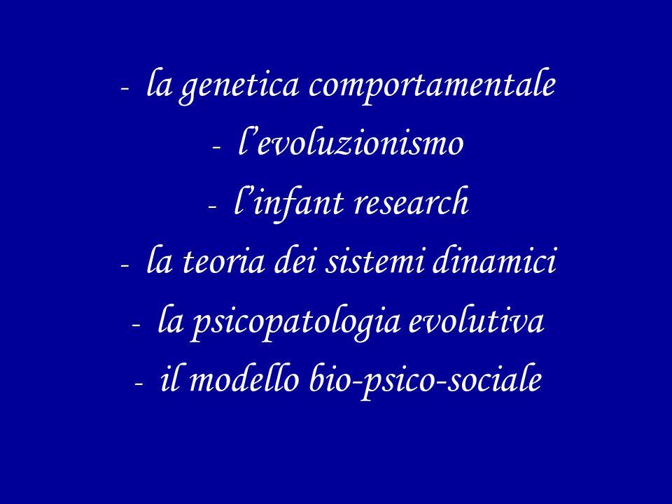 - la genetica comportamentale - levoluzionismo - linfant research - la teoria dei sistemi dinamici - la psicopatologia evolutiva - il modello bio-psico-sociale
