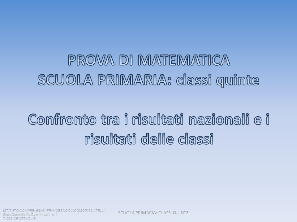 SCUOLA PRIMARIA: CLASSI QUINTE ISTITUTO COMPRENSIVO FRANCESCO GIACOMO PIGNATELLI Sede Centrale Via Don Minzoni, n. 1 74023 GROTTAGLIE