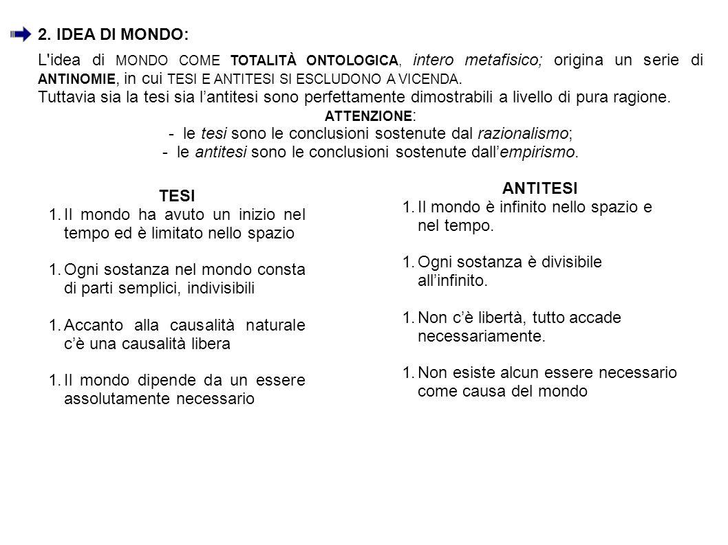 L'idea di MONDO COME TOTALITÀ ONTOLOGICA, intero metafisico; origina un serie di ANTINOMIE, in cui TESI E ANTITESI SI ESCLUDONO A VICENDA. Tuttavia si
