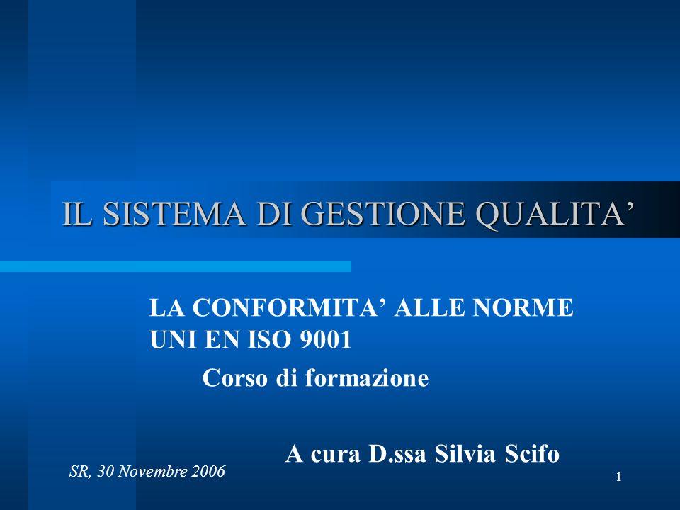 1 IL SISTEMA DI GESTIONE QUALITA LA CONFORMITA ALLE NORME UNI EN ISO 9001 Corso di formazione A cura D.ssa Silvia Scifo SR, 30 Novembre 2006